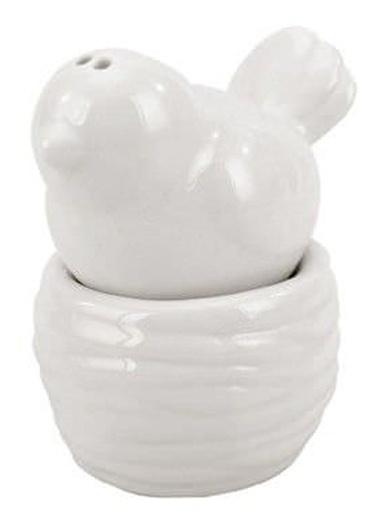Warm Design Kuş ve Yuvası Motifli Porselen Tuzluk Beyaz